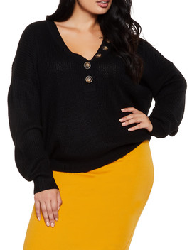 Plus Size Half Button Sweater by Rainbow