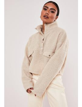 Sand Teddy Borg Popper High Neck Sweatshirt by Missguided