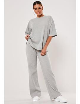 Gray Rib T Shirt Wide Leg Co Ord Set by Missguided