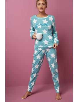 Womens Matching Family Green Star Pyjamas by Next