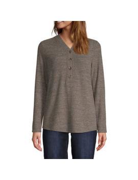 St. John's Bay Womens Y Neck Long Sleeve Henley Shirt by St. John`s Bay