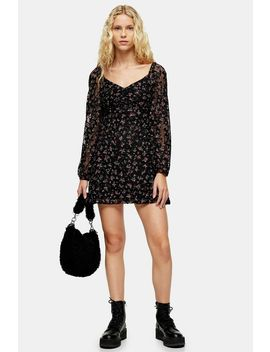 Black Floral Lace Gypsy Mini Dress by Topshop