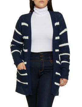 Plus Size Striped Knit Cardigan | 3920038349205 by Rainbow
