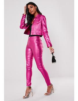 Pink Metallic Co Ord Vice High Waisted Coated Denim Jeans by Missguided