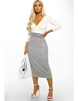 Cross Rhodes Grey Suedette High Waisted Midi Skirt by Pink Boutique