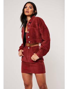 Red Co Ord Cropped Cord Jacket by Missguided