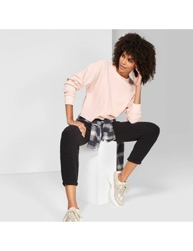 Women's Long Sleeve Boxy Thermal T Shirt   Wild Fable™ Peach by Wild Fable