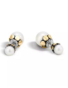 John Hardy Dot Double Pearl Stud Earrings W/ 18k Gold by John Hardy