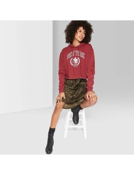 Women's Cropped Hoodie New York Graphic   Wild Fable™ Berry Maroon by Wild Fable