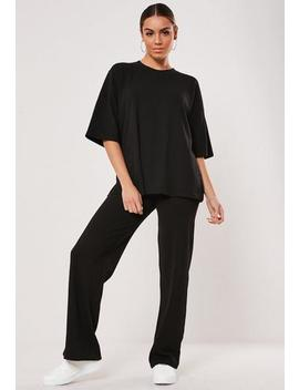 Black Rib T Shirt And Wide Leg Co Ord Set by Missguided