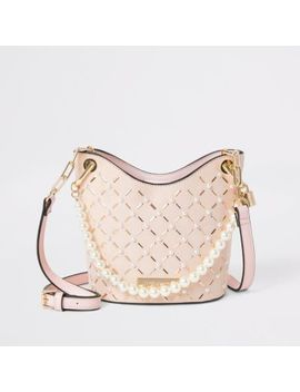 Pink Pearl Studded Cross Body Bucket Bag by River Island