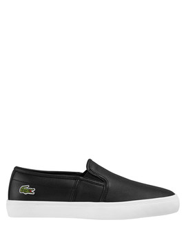 Gazon Black Leather Slip Ons by Lacoste