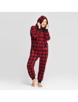 Women's Holiday Buffalo Check Fleece Union Suit   Wondershop™ Red by Shop Collections