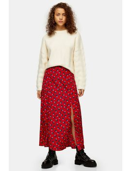 Red Floral Double Split Midi Skirt by Topshop