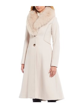 Penny Fit & Flare Wool Cashmere Blend Coat With Detachable Genuine Fox Fur Collar by Antonio Melani