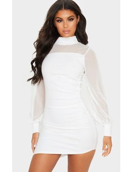 White Mesh Bodice Long Sleeve Ruched Bodycon Dress by Prettylittlething