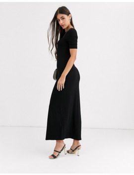New Look Tall Split Front Maxi T Shirt Dress In Black by New Look