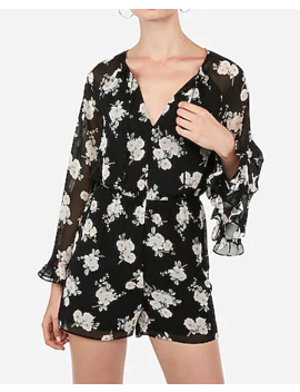 Floral Print Ruffle Romper by Express