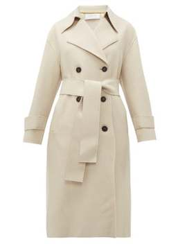 Double Breasted Pressed Wool Trench Coat by Harris Wharf London