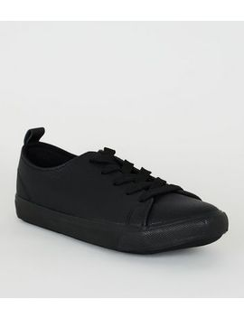 Wide Fit Leather Look Lace Up Trainers by New Look