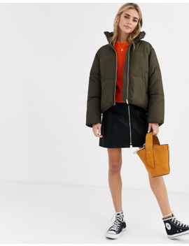 New Look Boxy Puffer Jacket In Khaki by New Look