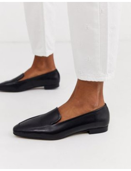Depp Black Soft Leather Flat Shoes by Asos