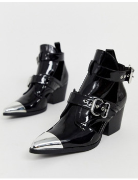 Missguided   Bottines à Découpes Style Western Avec Bout Argenté   Noir by Missguided
