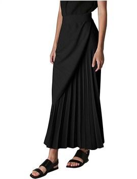 Black Satin Concertina Skirt by Bianca Spender