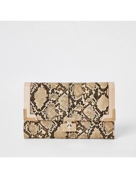 Beige Snake Print Fold Over Travel Wallet by River Island