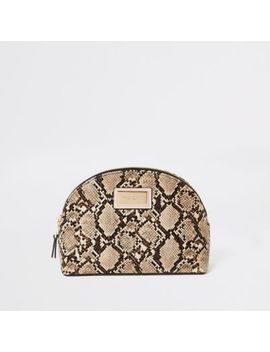 Beige Snake Printed Zip Top Makeup Bag by River Island