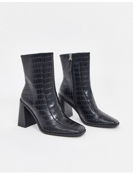 Co Wren   Bottines Pointure Large à Talons Carrés   Noir Croco by Bottes