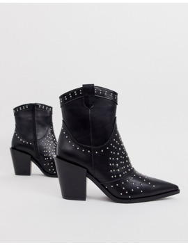 Truffle Collection   Bottines Cloutées à Bout Pointu Style Western   Noir by Asos Brand
