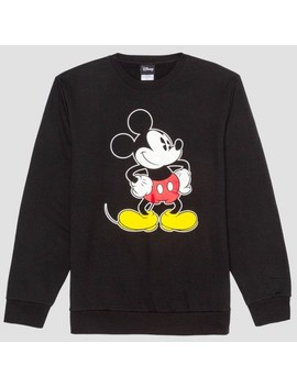 Men's Mickey Mouse & Friends Crew Neck Fleece Sweater   Black by Mickey Mouse