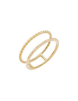 Diamond Pavé X Rope Ring 14 K by Adina's Jewels