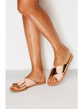 Rose Gold Crossover Slider Sandals by Select