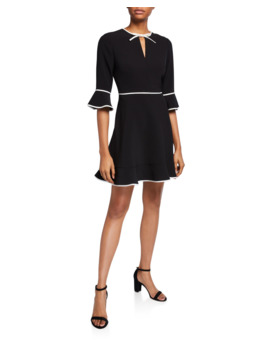 Bell Sleeve Keyhole Skater Dress With Bow Binding by Ted Baker London