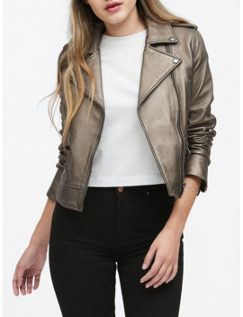 Metallic Leather Moto Jacket by Banana Repbulic