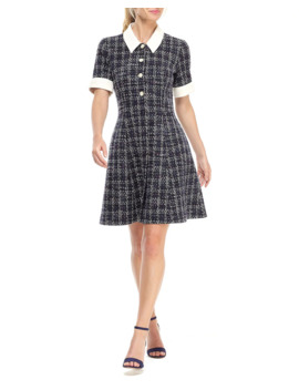 City Lights Boucle Novelty Fit And Flare Shirtdress by Gal Meets Glam Collection