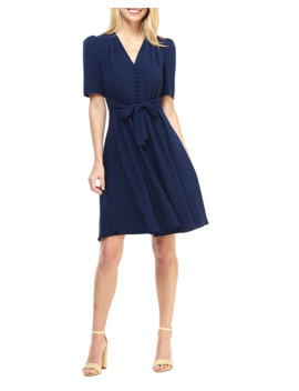 City Crepe V Neck Elbow Sleeve Tie Waist Fit & Flare Dress by Gal Meets Glam Collection