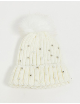 Stitch & Pieces Exclusive Winter White Pom Beanie Hat With Faux Pearl by Stitch & Pieces'