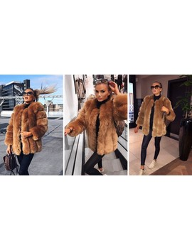 Renaissance Faux Fur Coat In Creamy Chestnut Brown by Amo Couture