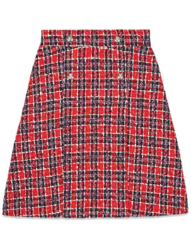 Tweed Check A Line Skirt by Gucci