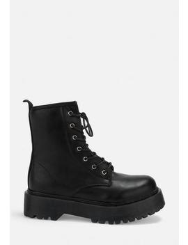 Black Platform Lace Up Boots by Missguided