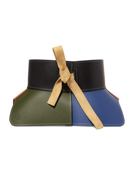 Obi Suede Trimmed Color Block Leather Waist Belt In Green by Loewe