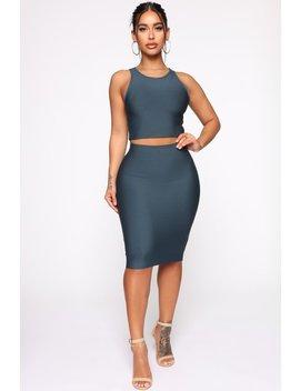 Never Too Late Skirt Set   Hunter by Fashion Nova