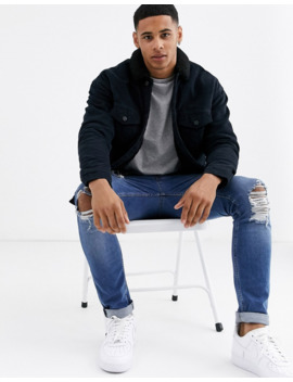 Only &Amp; Sons – Cordjacke In Marineblau Mit Kragen Aus Teddyfell by Asos