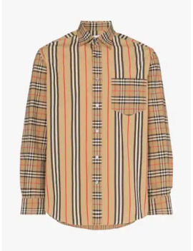 Classic Fit Patchwork Cotton Poplin Shirt by Burberry