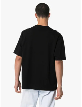 Black Paris Flag Logo Print T Shirt by Balenciaga