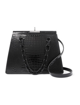 Croc Effect Leather Shoulder Bag by Gu De
