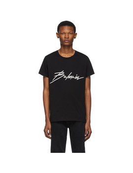 Black Embroidered Logo T Shirt by Balmain